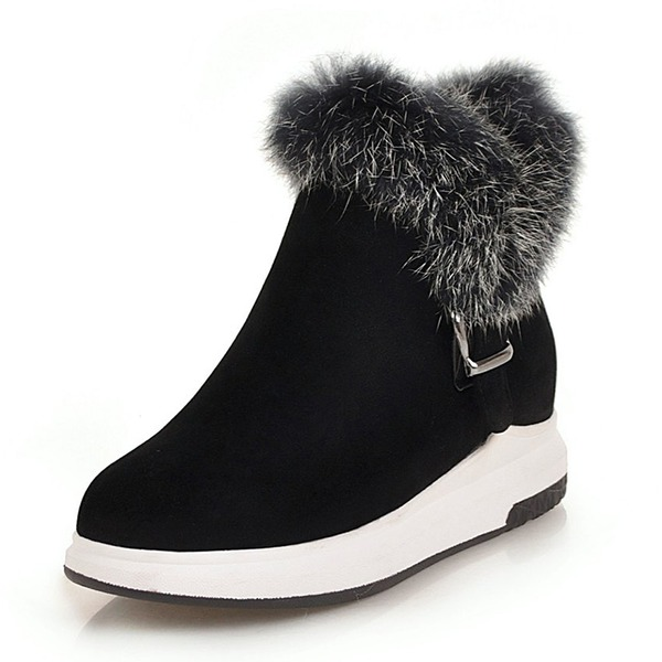 Women's Suede Flat Heel Platform Boots Snow Boots With Buckle shoes