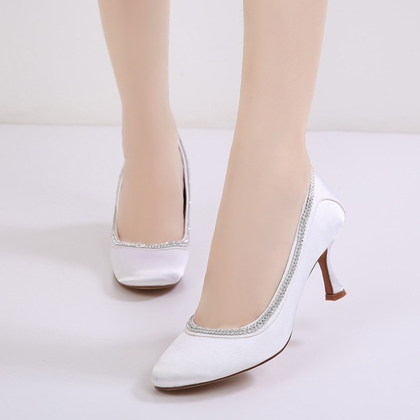 Women's Silk Like Satin Stiletto Heel Closed Toe Pumps With Rhinestone