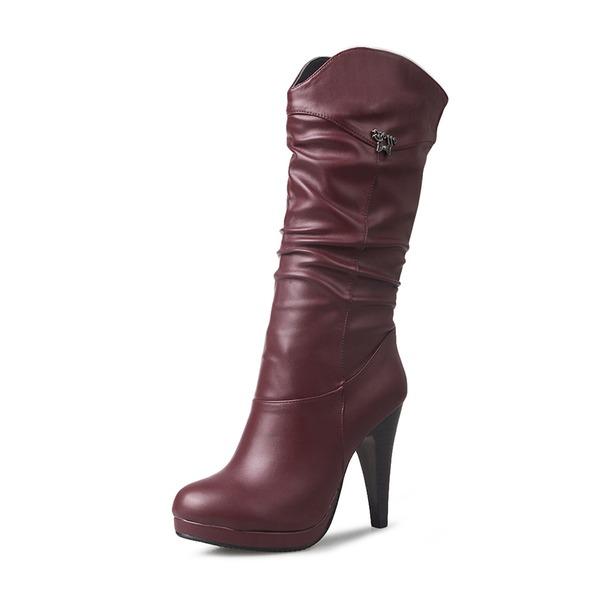 Frauen Kunstleder Stöckel Absatz Absatzschuhe Geschlossene Zehe Stiefel Kniehocher Stiefel Stiefel-Wadenlang mit Schnalle Schuhe