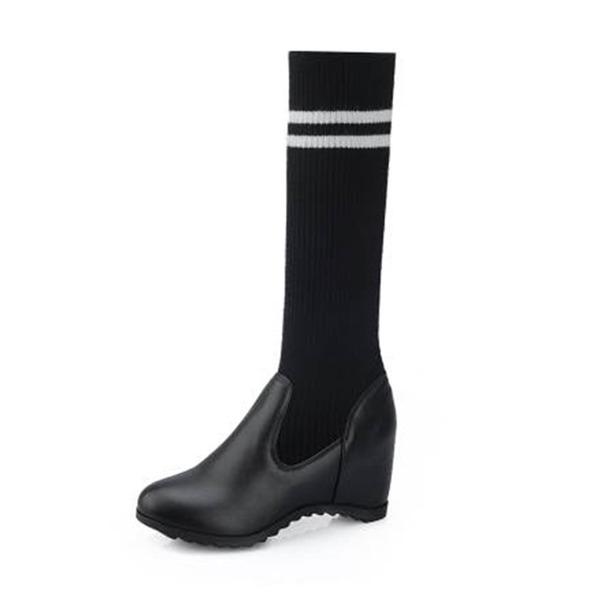 Kvinner PU Kile Hæl Støvler Knehøye Støvler med Delt Bindeled sko