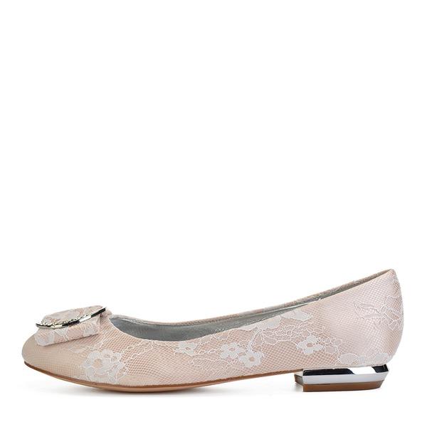 Femmes Similicuir Talon plat Bout fermé Chaussures plates avec Couture dentelle