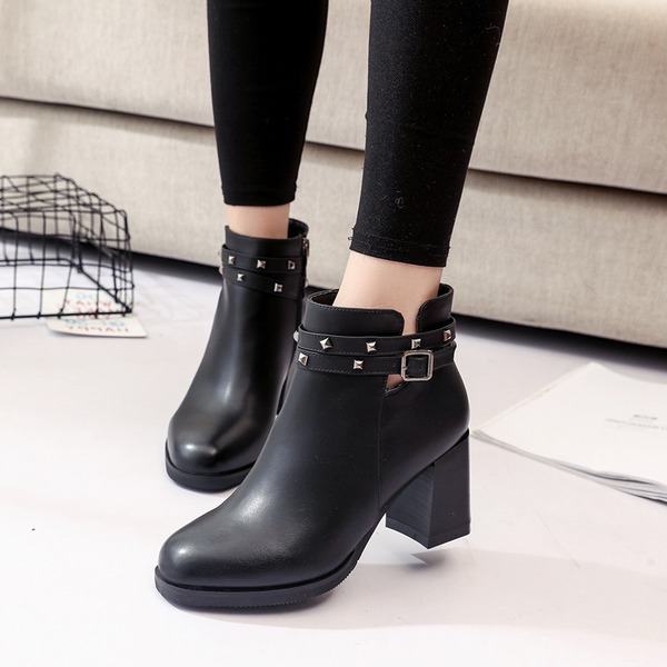 Women's Leatherette Chunky Heel Closed Toe Boots Ankle Boots With Rivet Buckle shoes
