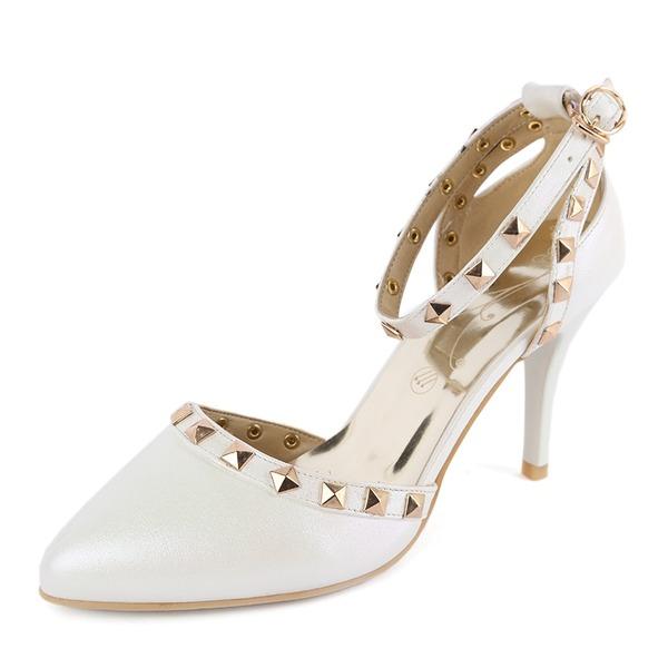 De mujer Cuero Tacón stilettos Sandalias Salón Cerrados con Rivet zapatos