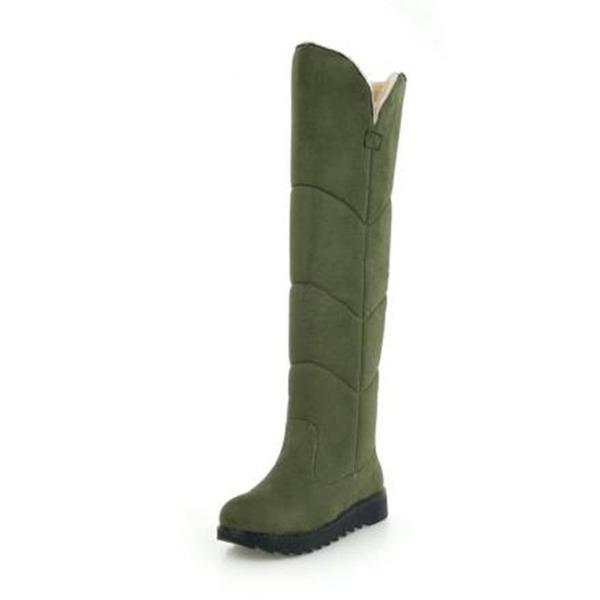 Frauen Veloursleder Flascher Absatz Stiefel Stiefel über Knie Schneestiefel mit Andere Schuhe