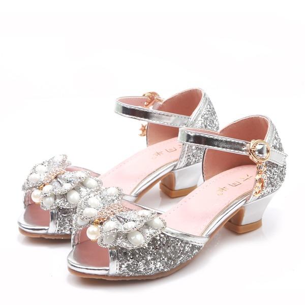 Fille de À bout ouvert Glitter mousseux Low Heel Sandales Chaussures de fille de fleur avec Bowknot