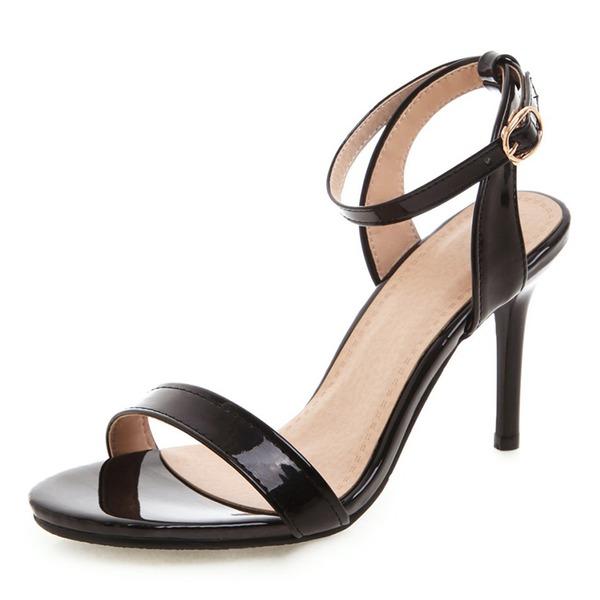 Женщины Лакированная кожа PU Высокий тонкий каблук Сандалии На каблуках Открытый мыс Босоножки с пряжка обувь