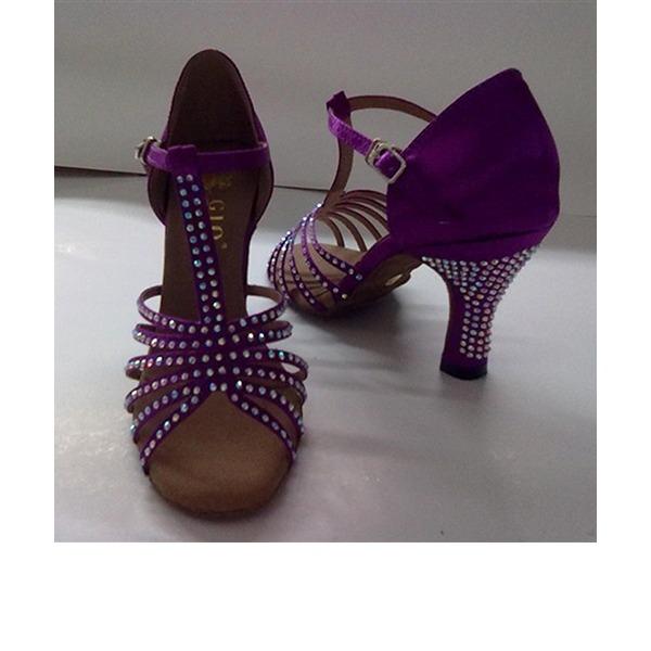 Femmes Satiné Talons Sandales Latin avec Ouvertes Chaussures de danse