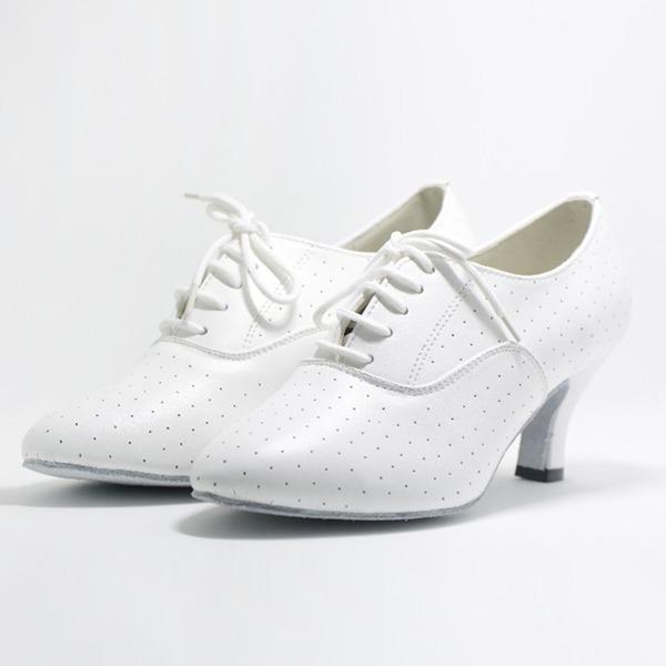 Mulheres Couro verdadeiro Bombas Swing com Aplicação de renda Sapatos de dança