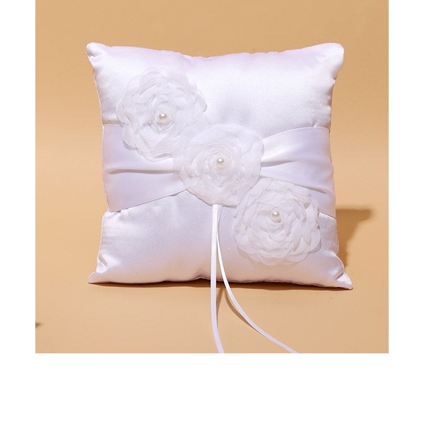 Square Ring Pillow in Satin/Lace With Ribbons/Faux Pearl/Flowers
