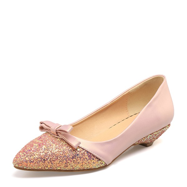 Vrouwen Sprankelende Glitter PVC Flat Heel Flats Closed Toe met strik schoenen