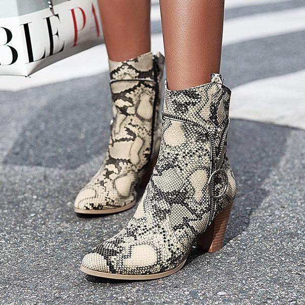 Vrouwen Kunstleer Chunky Heel Enkel Laarzen met Dier Afdrukken Rits schoenen