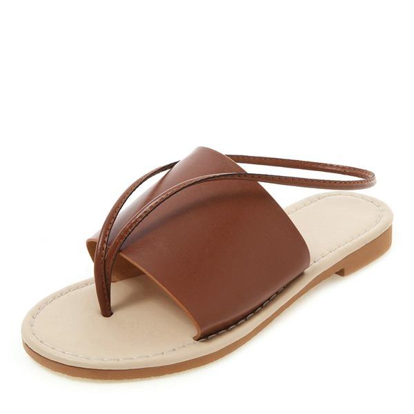 Kvinder Kunstlæder Flad Hæl sandaler Fladsko Kigge Tå Slingbacks sko