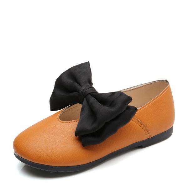 Pigens Lukket Tå Leatherette Flad Hæl Fladsko Flower Girl Shoes med Bowknot