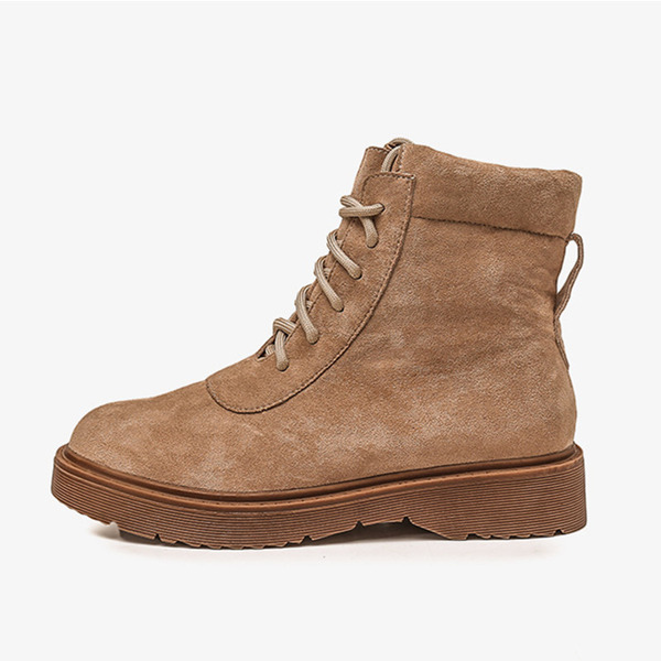 Women's Suede Low Heel Boots Snow Boots With Lace-up shoes