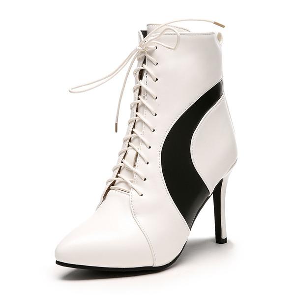 Kadın Suni deri İnce Topuk Bot Ayak bileği Boots Ile Fermuar Bağcıklı ayakkabı