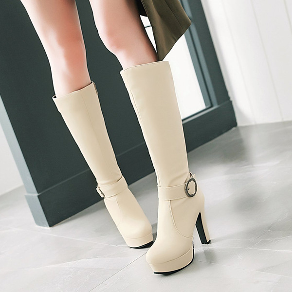 Women's PU Chunky Heel Pumps Platform Boots Knee High Boots With Buckle Zipper shoes