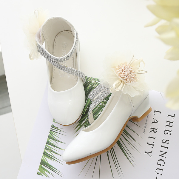Jentas Lukket Tå Leather Flower Girl Shoes med Blomst