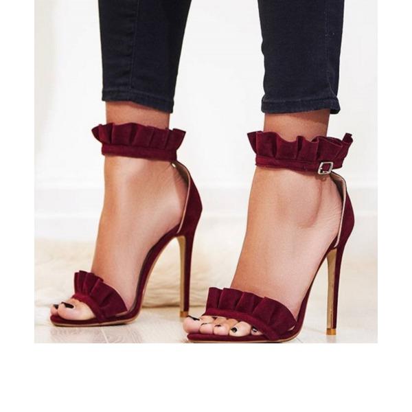 Kadın Süet İnce Topuk Sandalet Pompalar Peep Toe Arkası açık iskarpin ayakkabı