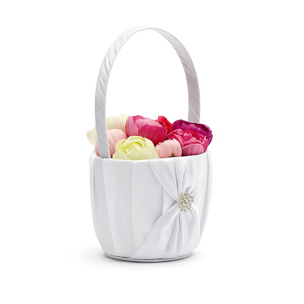 Pure Flower Basket in Satin With Rhinestones/Sash