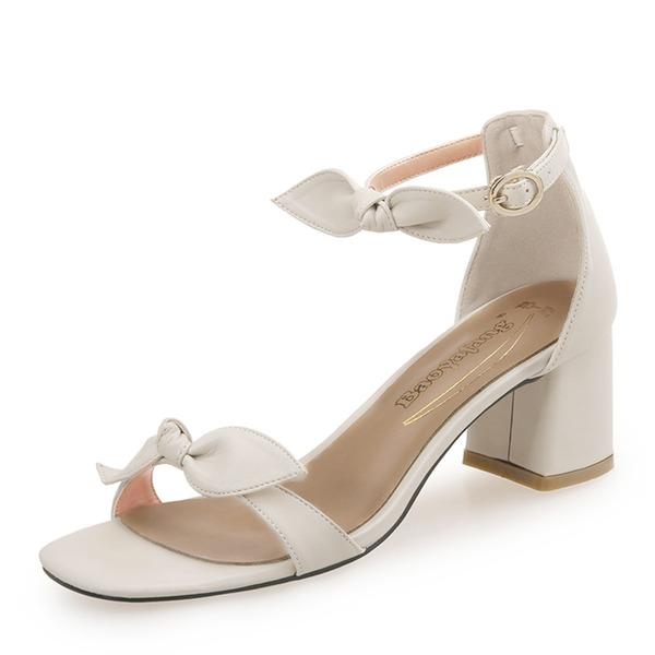Donna PU Tacco spesso Sandalo con Bowknot Fibbia scarpe