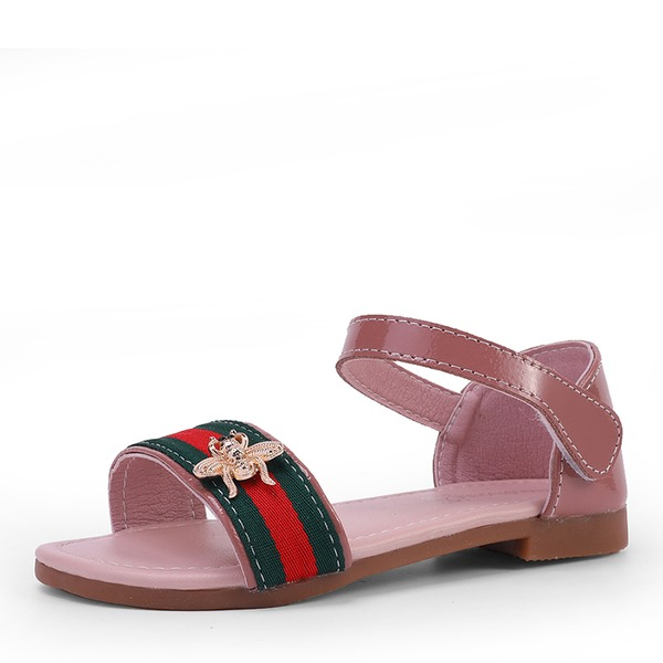 Girl's Peep Toe Patent Leather Flat Heel Sandals Flats With Velcro