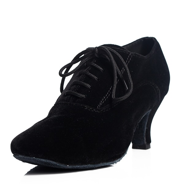 Women's Suede Pumps Swing Practice With Lace-up Dance Shoes