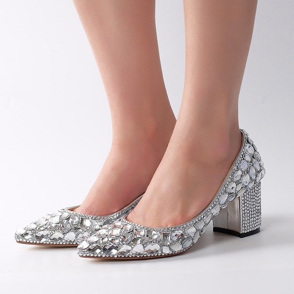 Women's Real Leather Chunky Heel Pumps With Rhinestone