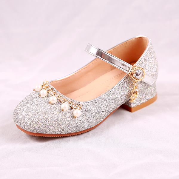Jentas Round Toe Lukket Tå Leather lav Heel Flate sko Sneakers & Athletic Flower Girl Shoes med Spenne Glitrende Glitter Perle