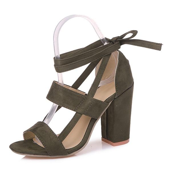Mulheres Camurça Salto robusto Sandálias Bombas com Aplicação de renda Oca-out sapatos