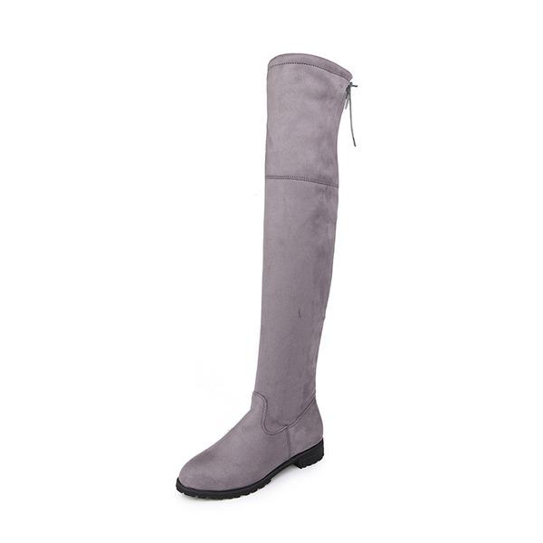 Femmes Suède Talon bas Chaussures plates Bottes Bottes hautes avec Zip chaussures