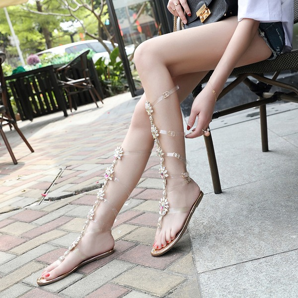 Frauen Kunstleder Flascher Absatz Flache Schuhe Peep-Toe Sandalen Slingpumps mit Kristall