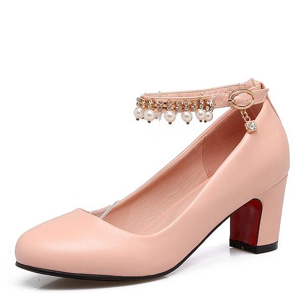 De mujer Cuero Tacón ancho Salón Cerrados con Perlas de imitación zapatos