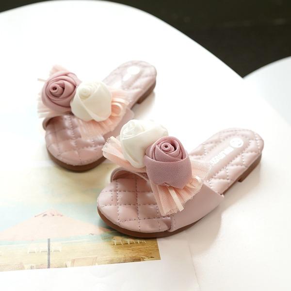 Girl's Peep Toe Slingback Microfiber Leather Flat Heel Flats Slippers With Flower