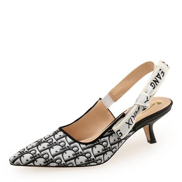 Mulheres PU Salto de gatinha Sandálias Fechados com Faixa Elástica sapatos