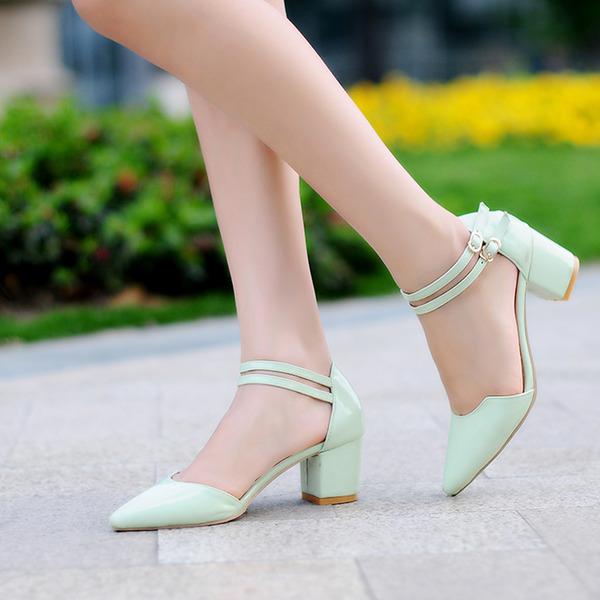Женщины Лакированная кожа Устойчивый каблук Сандалии На каблуках Закрытый мыс Mary Jane с пряжка обувь
