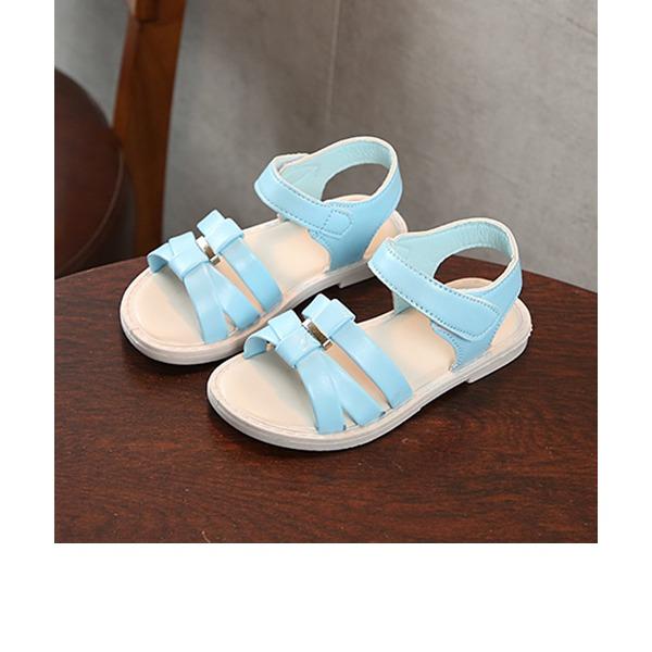 Flicka Peep Toe konstläder platt Heel Sandaler Platta Skor / Fritidsskor Flower Girl Shoes med Kardborre Button