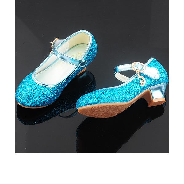 девичий Круглый носок игристые Блеск Обувь для девочек с хрусталь