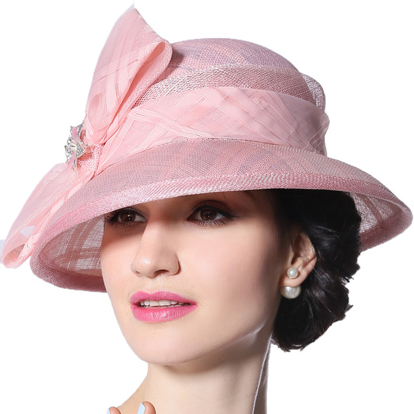 Ladies' Glamourous/Elegant/Eye-catching Cambric With Rhinestone/Bowknot Kentucky Derby Hats/Tea Party Hats