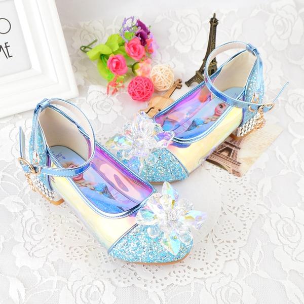 Flicka rund tå Stängt Toe konstläder Flower Girl Shoes med Bowknot