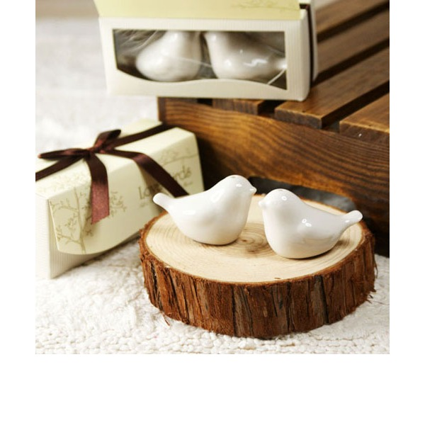 """Love Birds In The Window"" Ceramic Salt & Pepper Shakers With Ribbons (Set of 2 pieces)"