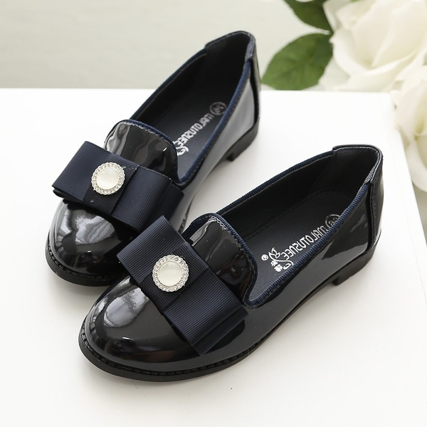 Girl's Closed Toe Patent Leather Flower Girl Shoes With Bowknot