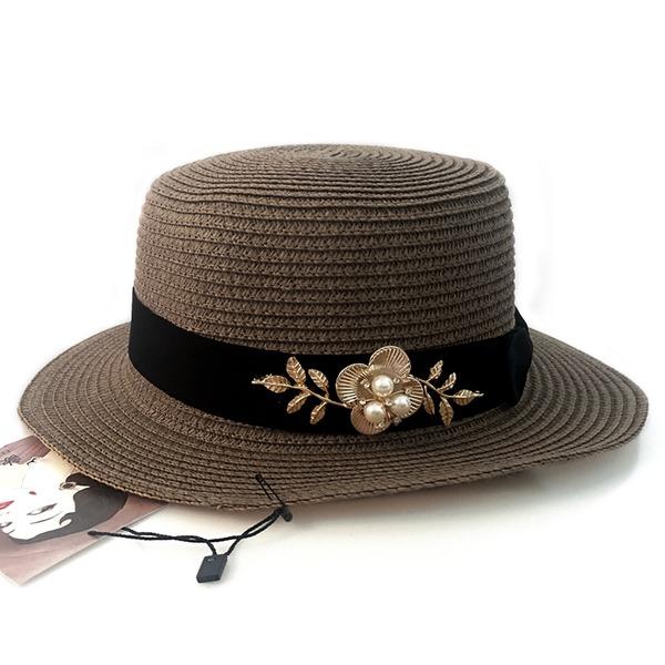 Dames Beau Rotin paille/Alliage avec De faux pearl Chapeau de paille/Chapeaux Tea Party