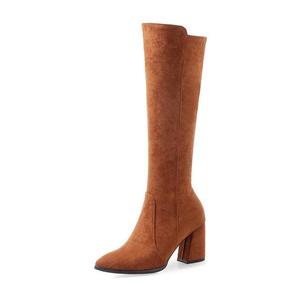 Mulheres Camurça Salto robusto Botas Bota no joelho sapatos