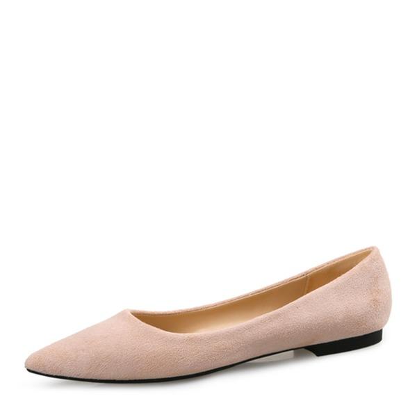 Vrouwen Suede Flat Heel Flats Closed Toe met Anderen Gevlochten Riempje Gesplitste Stof Elastiekje schoenen