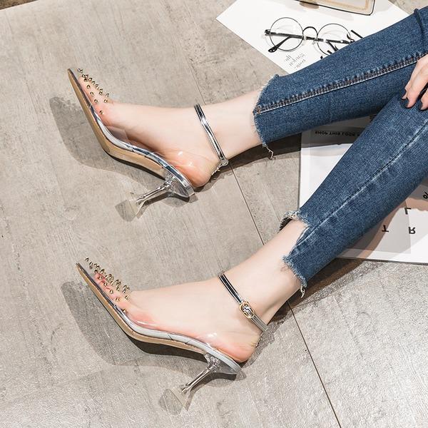 Kvinder PVC Stiletto Hæl sandaler Pumps Lukket Tå med Nitte Spænde sko