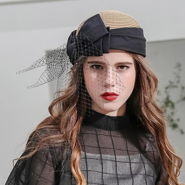 Signore Bella/Moda/Affascinante/Elegante/Unico/Incredibile/Occhi-cattura/Fascino/Fantasia/Romantico/stile vintage/Artistico Rafia paglia con Bowknot/Tyll Basco Cappello