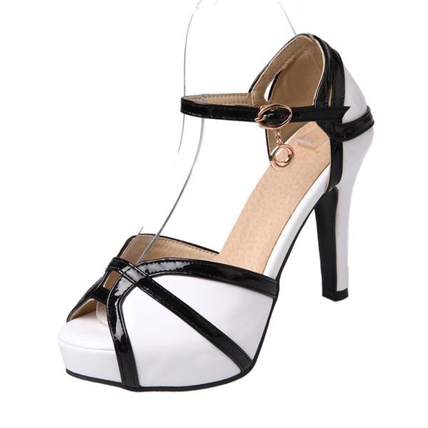 Naisten PU Piikkikorko Sandaalit Avokkaat Platform Peep toe jossa Solki kengät