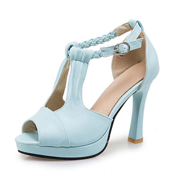 Femmes PU Talon bottier Sandales Escarpins Plateforme À bout ouvert avec Boucle chaussures