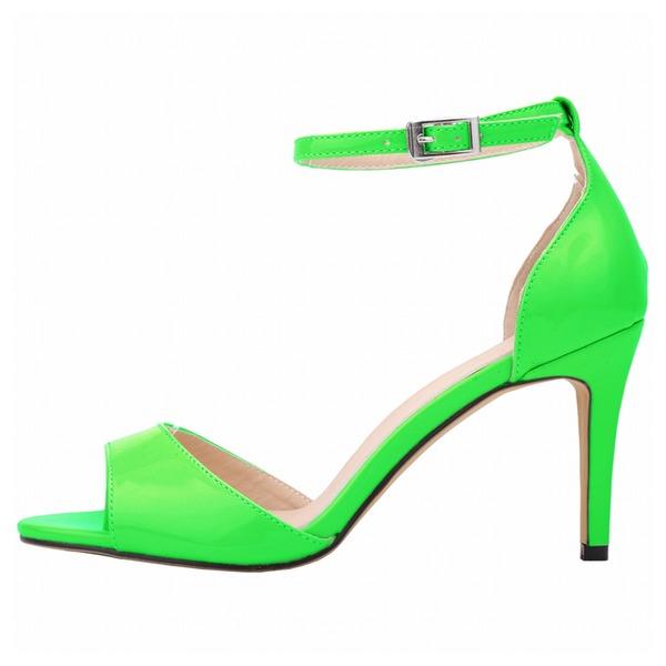Mulheres Couro Brilhante Salto agulha Sandálias Peep toe sapatos