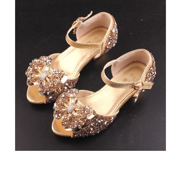 Mädchens Peep Toe funkelnden Glitter niedrige Ferse Sandalen Blumenmädchen Schuhe mit Bowknot